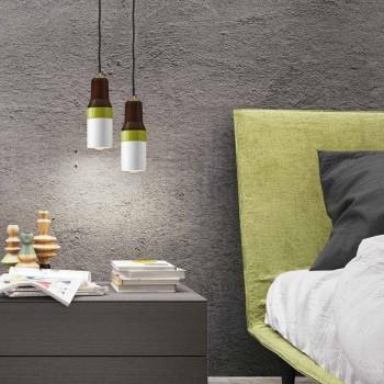 Lampada moderna sospesa in ottone e ceramica fatta in Italia Asia