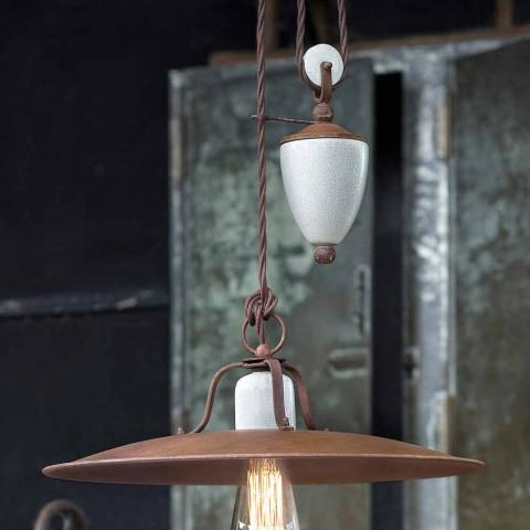 Lampada saliscendi artigianale in ceramica e metallo Kristen Ferroluce