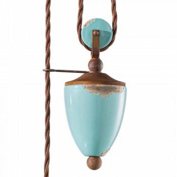 Lampada saliscendi country in metallo e ceramica Evelyn artigianale