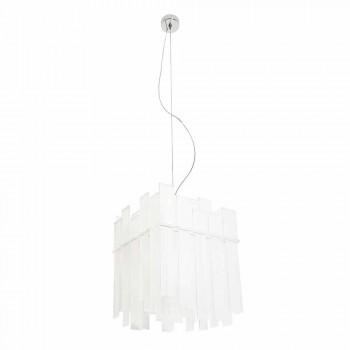 Lampada sospensione bianca design moderno Ketty 60x60cm made in Italy