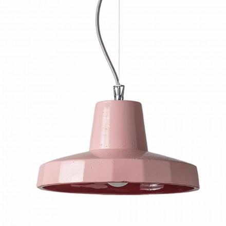 Lampada sospesa 30 cm, in ottone e maiolica toscana, Rossi Toscot
