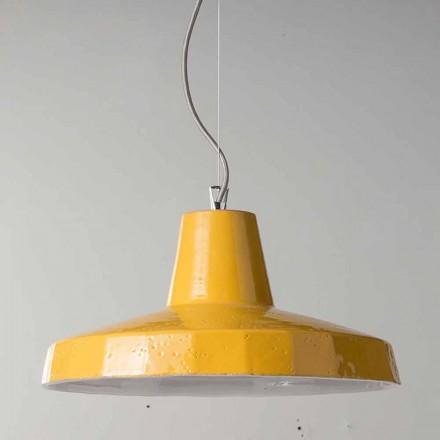 Lampada sospesa 42 cm in ottone e maiolica toscana Rossi - Toscot
