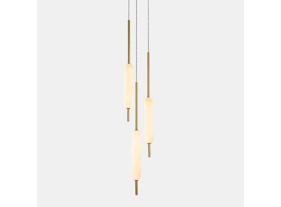 Lampada Sospesa a 1, 3 o 6 Luci in Ottone Design Moderno - Typha by Il Fanale