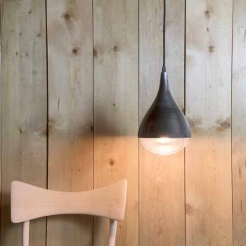 Lampada Sospesa Artigianale in Alluminio e Cotone Nero Made in Italy - Sissa