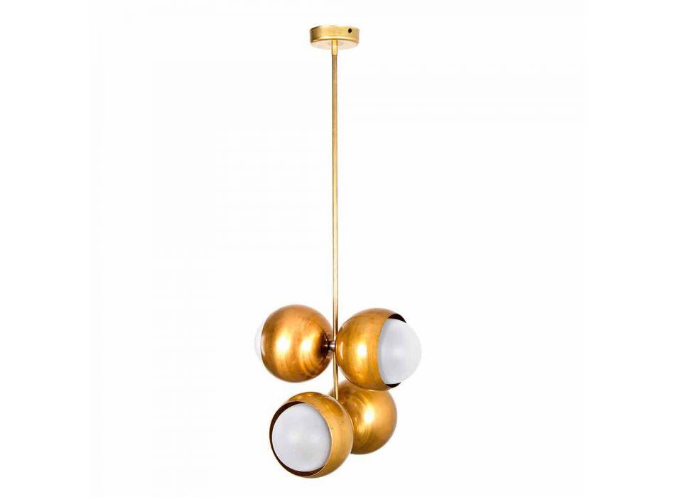 Lampada Sospesa Artigianale in Ottone Naturale e Vetro Made in Italy - Gandia