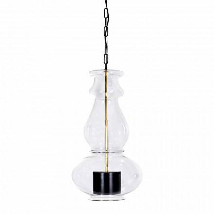Lampada Sospesa Artigianale in Vetro Soffiato e Ottone Made in Italy - Vitrea