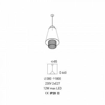 Lampada Sospesa Design Moderno in Tessuto e Rattan Made in Italy - Sailor