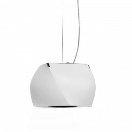 Lampada Sospesa di Design in Metallo e Resina Bianca Made in Italy - Pechino