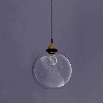 Lampada Sospesa di Design in Metallo e Vetro Trasparente Made in Italy - Clizia