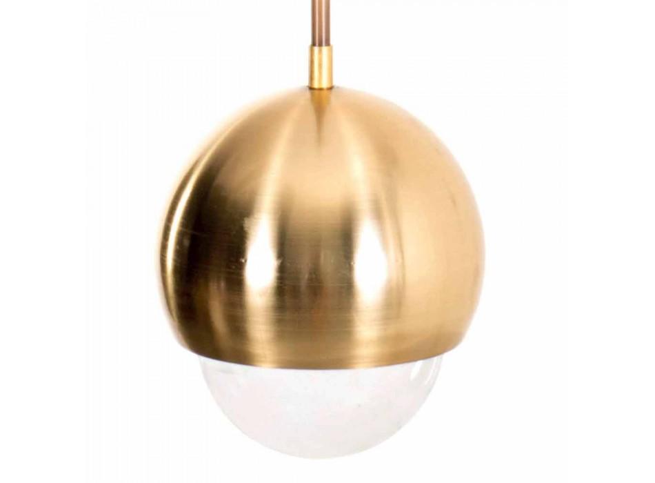 Lampada Sospesa Fatta a Mano in Ottone e Vetro Decorativo Made in Italy - Gandia