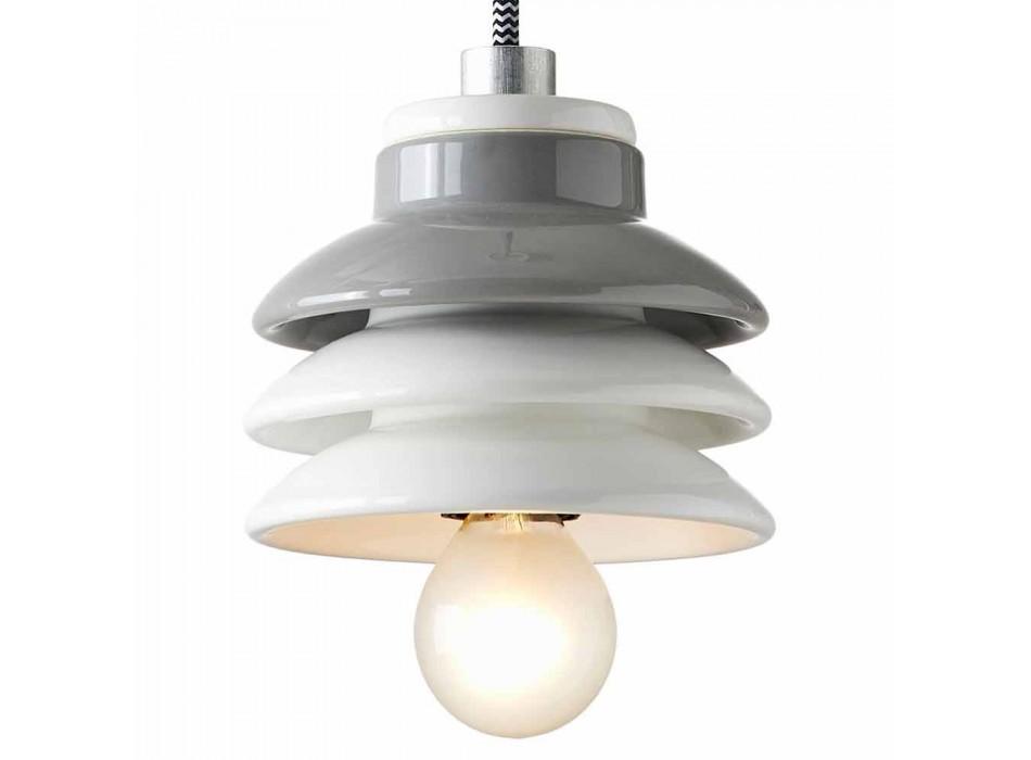 Lampada sospesa in ceramica e alluminio moderna fatta in Italia Asia