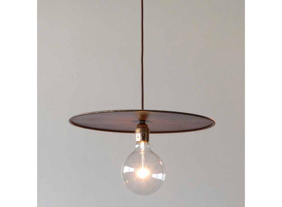 Lampada Sospesa in Ferro con Cavo in Cotone Artigianale Made in Italy - Ufo