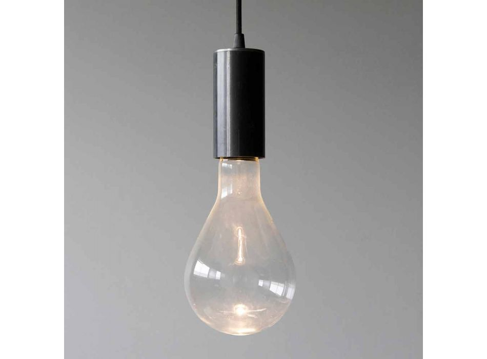Lampada Sospesa in Ferro e Vetro con Cavo in Cotone Made in Italy - Ampolla
