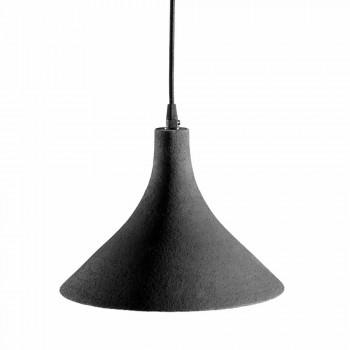 Lampada Sospesa in Gres Antracite e Interno Bianco Design Moderno - Edmondo