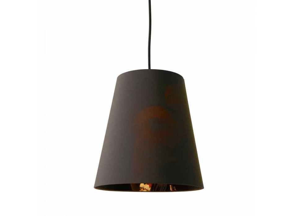 Lampada Sospesa in Lino Antracite con Stampa Interna Design 2 Misure - Bramosia