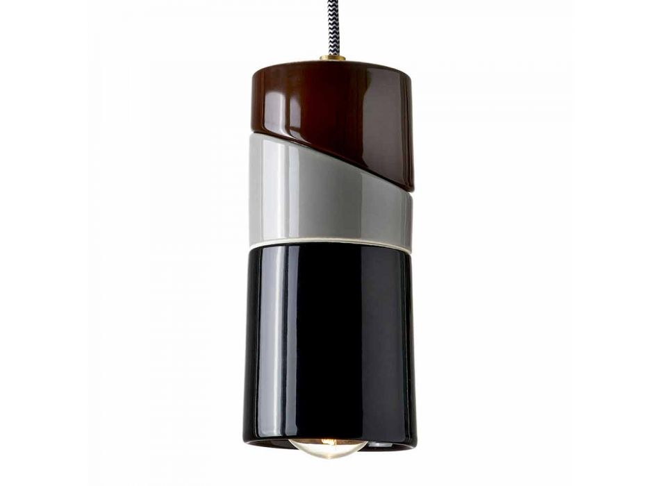 Lampada sospesa in ottone e ceramica colorata moderna made Italy Asia