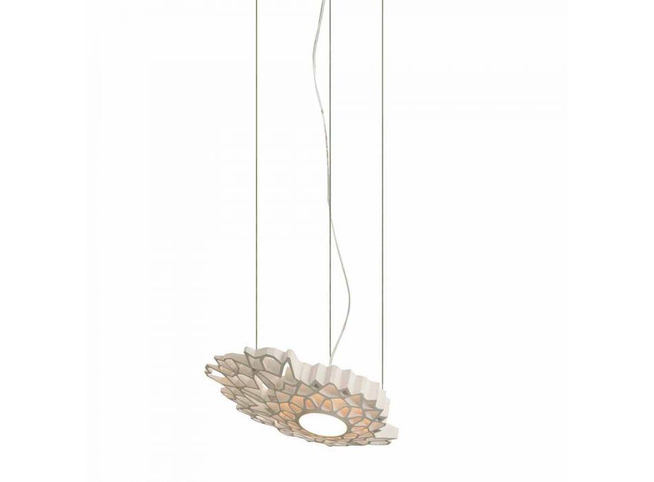 Lampada Sospesa in Tecnopolimero Bianco o Oro Design 2 Dimensioni - Cattedrale
