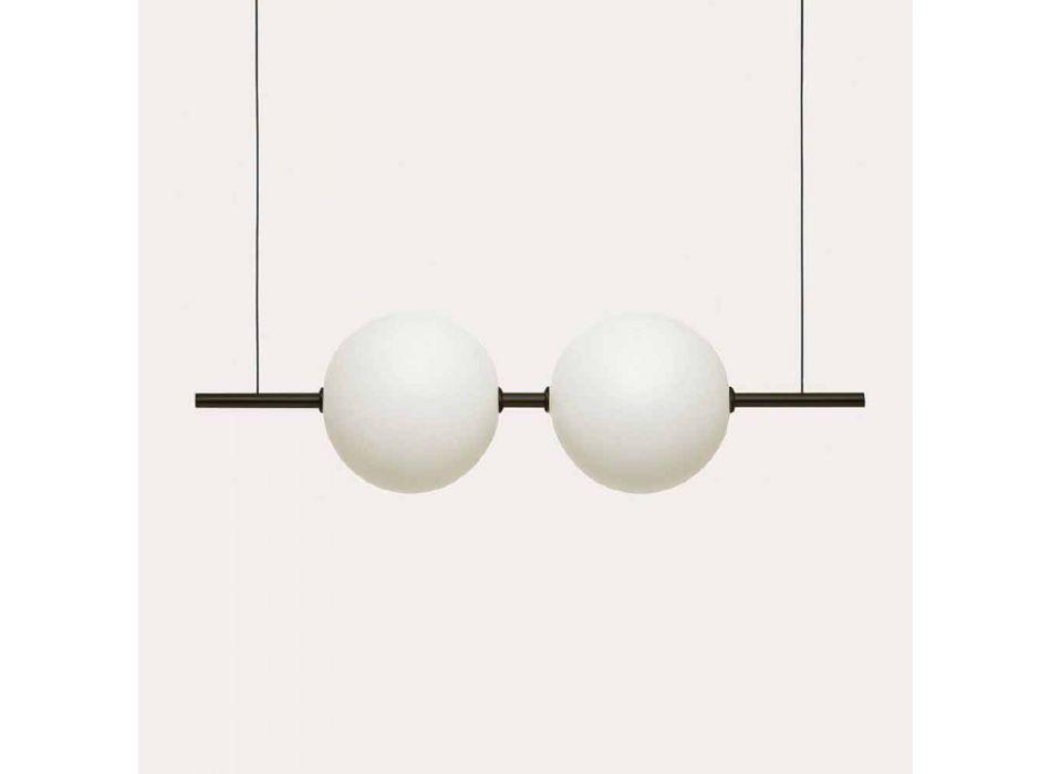 Lampada Sospesa in Vetro e Ottone Nero o Spazzolato Design - Alma by Il Fanale