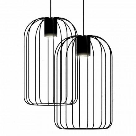 Lampada Sospesa Moderna con Struttura in Filo Metallico Made in Italy - Gabbia