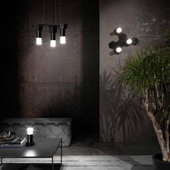 Lampada Sospesa Moderna in Metallo Nero Opaco e Plexiglass Made in Italy - Dalbo