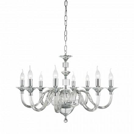 Lampadario 8 luci di design in vetro con decorazioni in cristallo Ivy