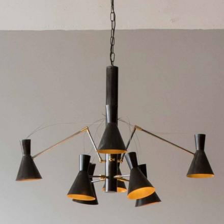 Lampadario Artigianale con Struttura in Ferro e Alluminio Made in Italy - Selina