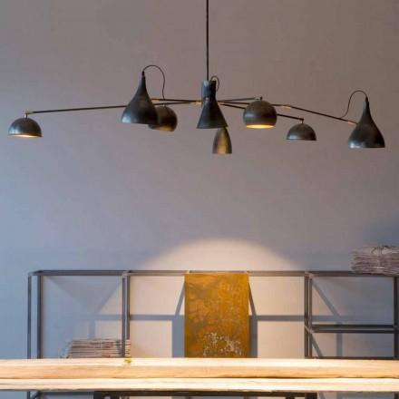 Lampadario Artigianale in Ferro con Paralumi in Alluminio Made in Italy - Verino