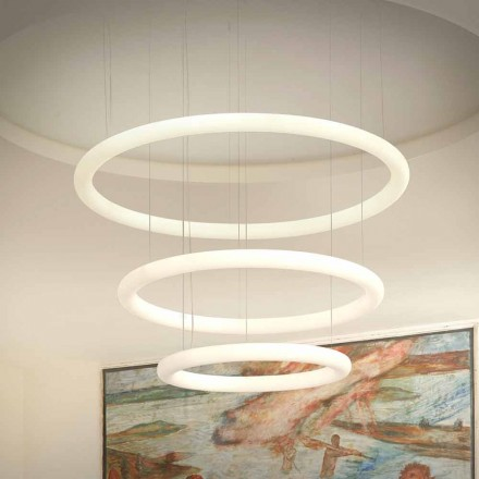 Lampadario Bianco a LED Design con Rosone in Metallo Made in Italy - Slide Giotto