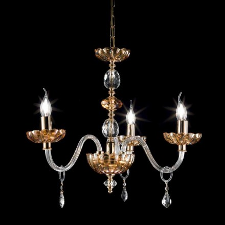Lampadario classico in cristallo e vetro a 3 luci Belle, made in Italy