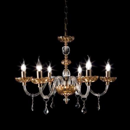 Lampadario design classico a 6 luci in vetro e cristallo Belle