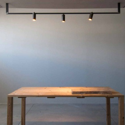Lampadario Design Moderno Fatto a Mano in Ferro Nero Made in Italy - Pamplona