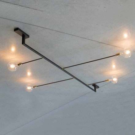 Lampadario di Design Fatto a Mano in Ferro con 4 Luci Made in Italy - Anima