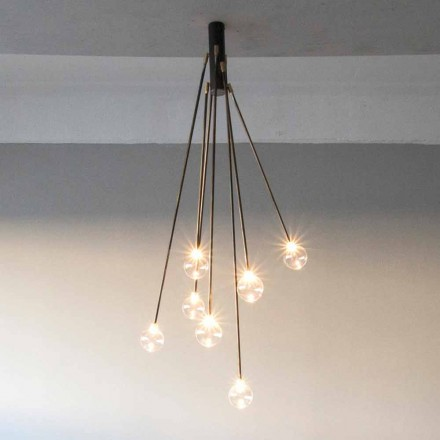 Lampadario di Design in Ferro Fatto a Mano con 7 Luci Made in Italy - Ombro