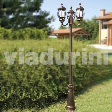 Lampione da esterno a tre luci in alluminio fatto in Italia, Anika