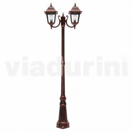 Lampione da esterno a due luci in alluminio fatto in Italia, Aquilina