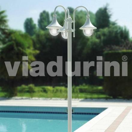 Lampione da esterno a tre luci in alluminio bianco made Italy, Anusca