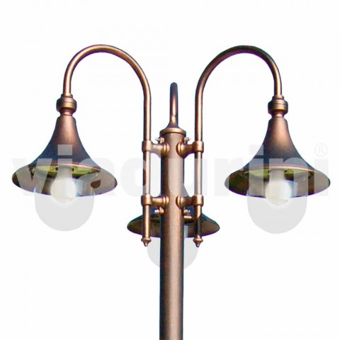 Lampione da esterno a tre luci in alluminio fatto in Italia, Anusca