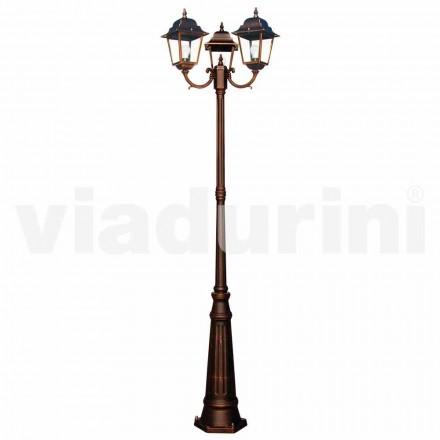 Lampione da esterno classico a tre luci prodotto in Italia, Aquilina