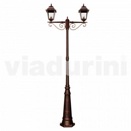 Lampione da esterno classico in alluminio fatto in Italia, Aquilina