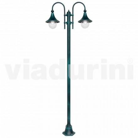 Lampione da esterno in alluminio a due luci made in Italy, Anusca