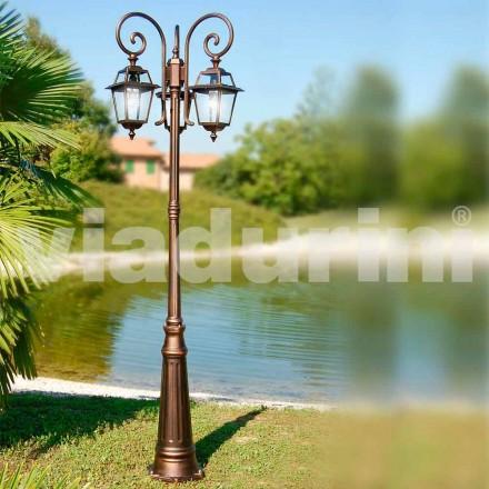 Lampione da giardino a tre luci in alluminio fatto in Italia, Kristel