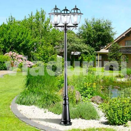 Lampione da giardino classico a tre luci prodotto in Italia, Kristel