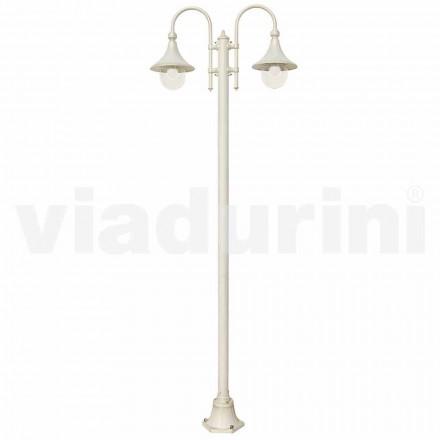 Lampione da giardino in alluminio pressofuso bianco made Italy, Anusca