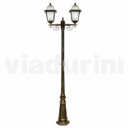 Lampione per esterno a due luci in alluminio made in Italy, Kristel