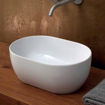 Lavabo 45x32cm in ceramica da appoggio made Italy Star, design moderno