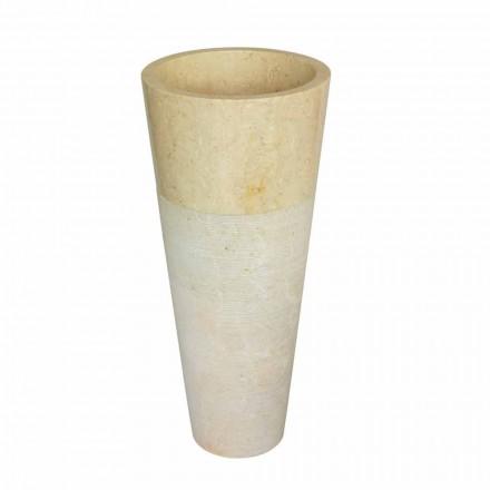 Lavabo a colonna conico in pietra naturale beige Raja