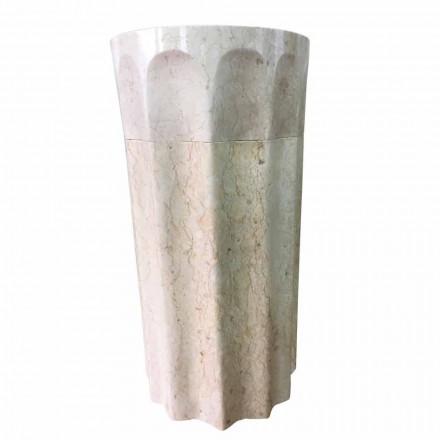 Lavabo a colonna Daisy colore bianco in pietra naturale, pezzo unico