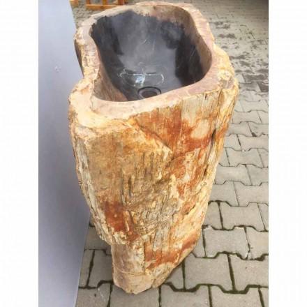 Lavabo a colonna di design in pietra naturale Ley, fatto a mano