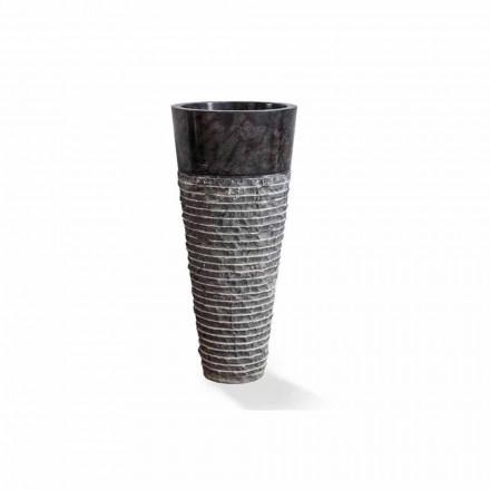 Lavabo a Colonna di Design Moderno in Marmo Nero Lucido - Merlo