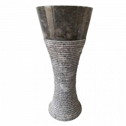 Lavabo a colonna in pietra naturale grigio scuro Fara, pezzo unico